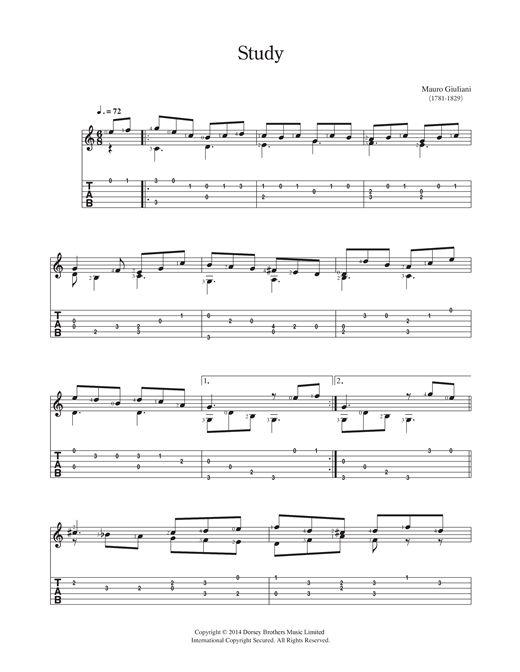 Mauro Giuliani: Study - Partition Guitare Classique - Plus de 70.000 partitions à imprimer !