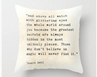 Roald Dahl Quote Velveteen Pillow  Cover Glittering Eyes Typography Inspirational Quote Love, Home Decor Bedroom Decor