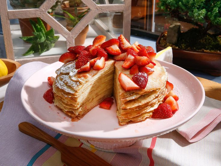 "Pancake ""Cake"" with Sparkling Strawberries recipe from The Kitchen via Food Network! Put sparklers on it!"