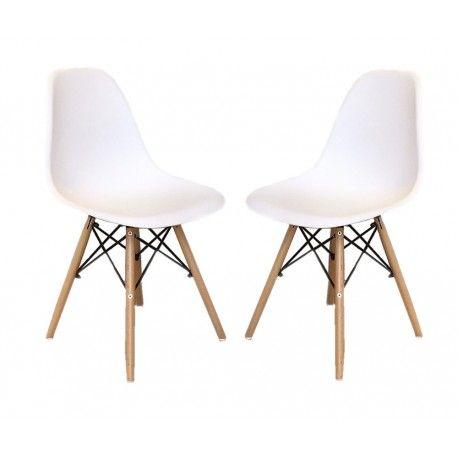 Chaise Cosy pieds en bois blanche - Lot de 2