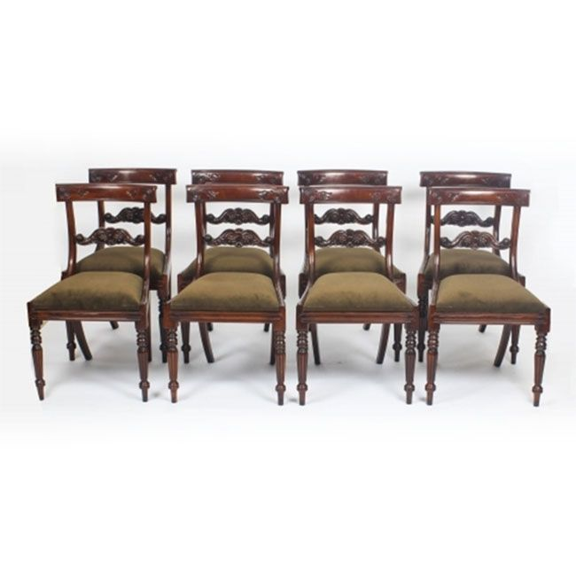 88c11f5340 An absolutely fantastic English-made set of 8 Regency style dining chairs,  dating from the late 20th century.
