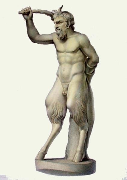 classical sculpture of pan