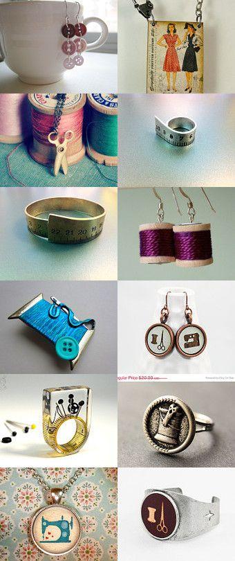 Sewing jewelry - dress pattern pendant