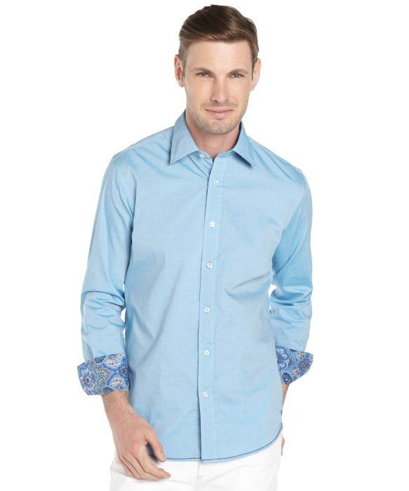 Report Collection aqua chambray cotton long sleeve button front shirt | BLUEFLY up to 70% off designer brands