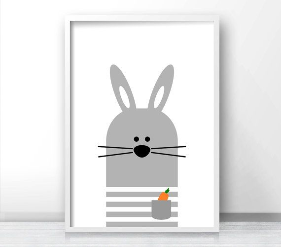 bunny nursery wall art printable nursery print gray nursery decor instant download art for kids baby animal print nursery art kids art - Kid Prints