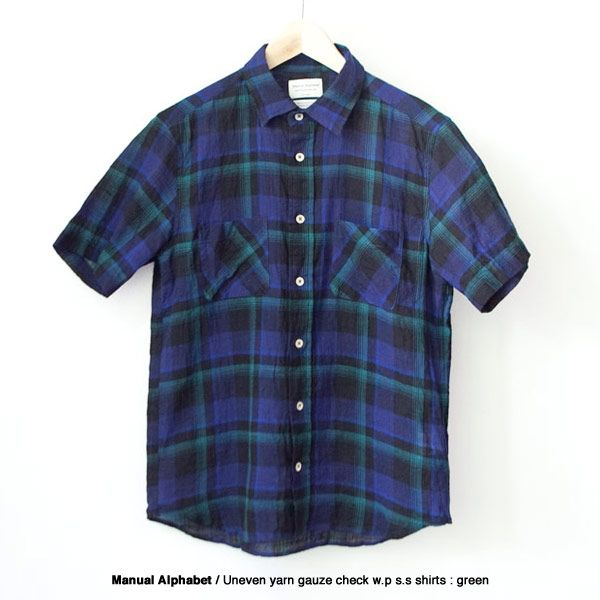 Manual Alphabet マニュアル・アルファベット  Uneven yarn gauze check shirts : green  ムラ糸 ガーゼ チェック 半袖 シャツ グリーン