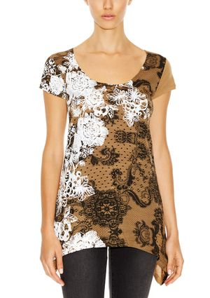 On ideel: DESIGUAL Short Sleeve Top with Sharkbite Hem