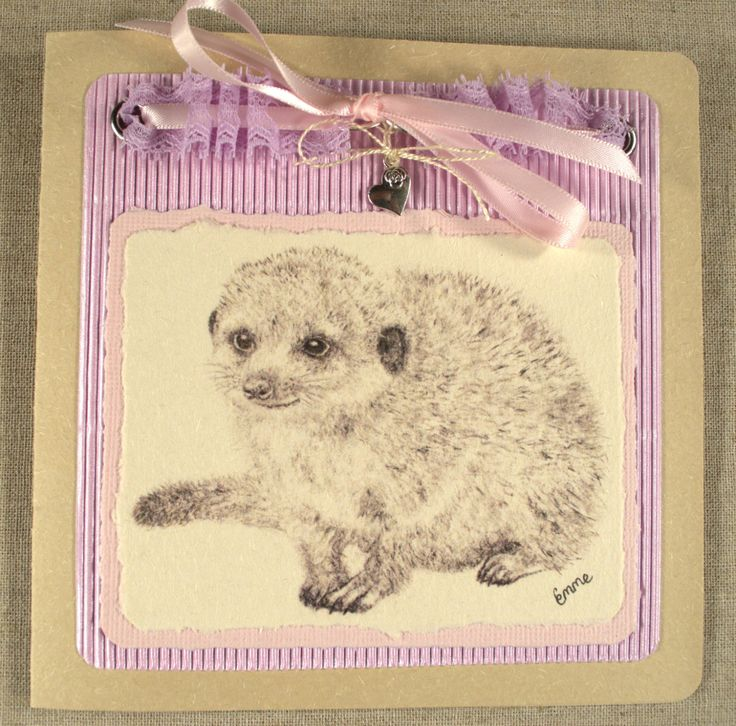 Purple lace, pink satin ribbon. Thank You Card for Women. Graphite meerkat drawing. Corrugated card, heart charm, recycled card. OOAK.