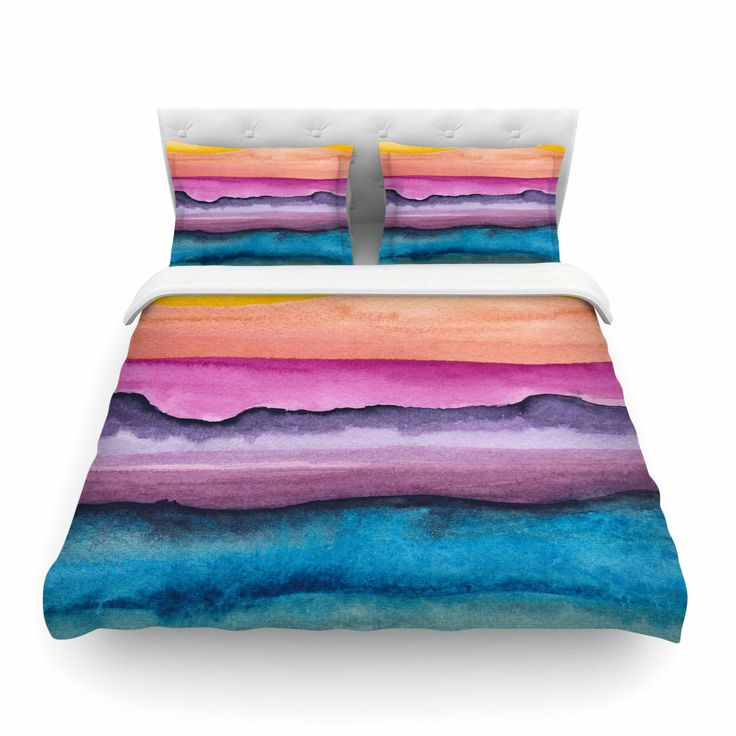 """Marco Gonzalez """"A 0 20"""" Purple Blue Abstract Modern Painting Mixed Media Featherweight Duvet Cover from KESS InHouse"""