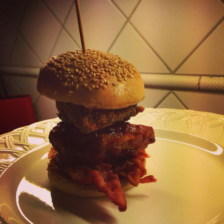 Fried pheasant and grey duck burger