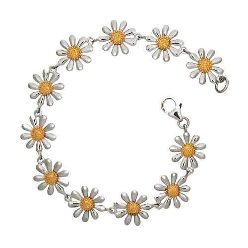 Silver Daisy Bracelet Silver and gold daisy jewellery