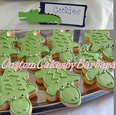 alligator baby shower cookies and Alligator Food Labels by Gigglebees.etsy.com