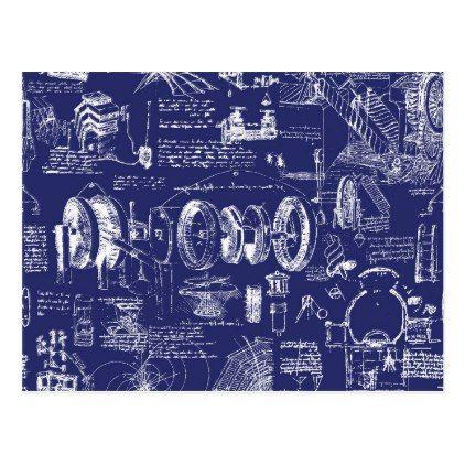 Leonardo Da Vinci's Blueprint Drawings Postcard - drawing sketch design graphic draw personalize
