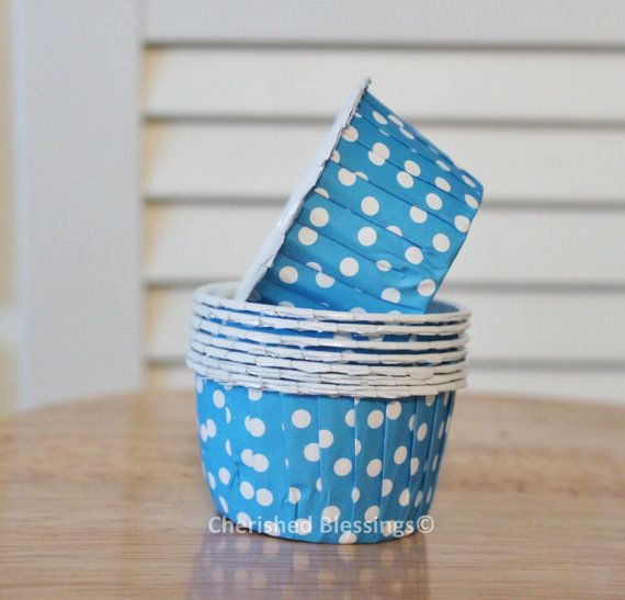 Cupcake Cups Liners Baking Cups Kids Birthday Party Baby Shower Wedding Turquoise Blue Polka Dots Candy Nut Paper Goods Dips Set of 20 on Etsy, $5.00