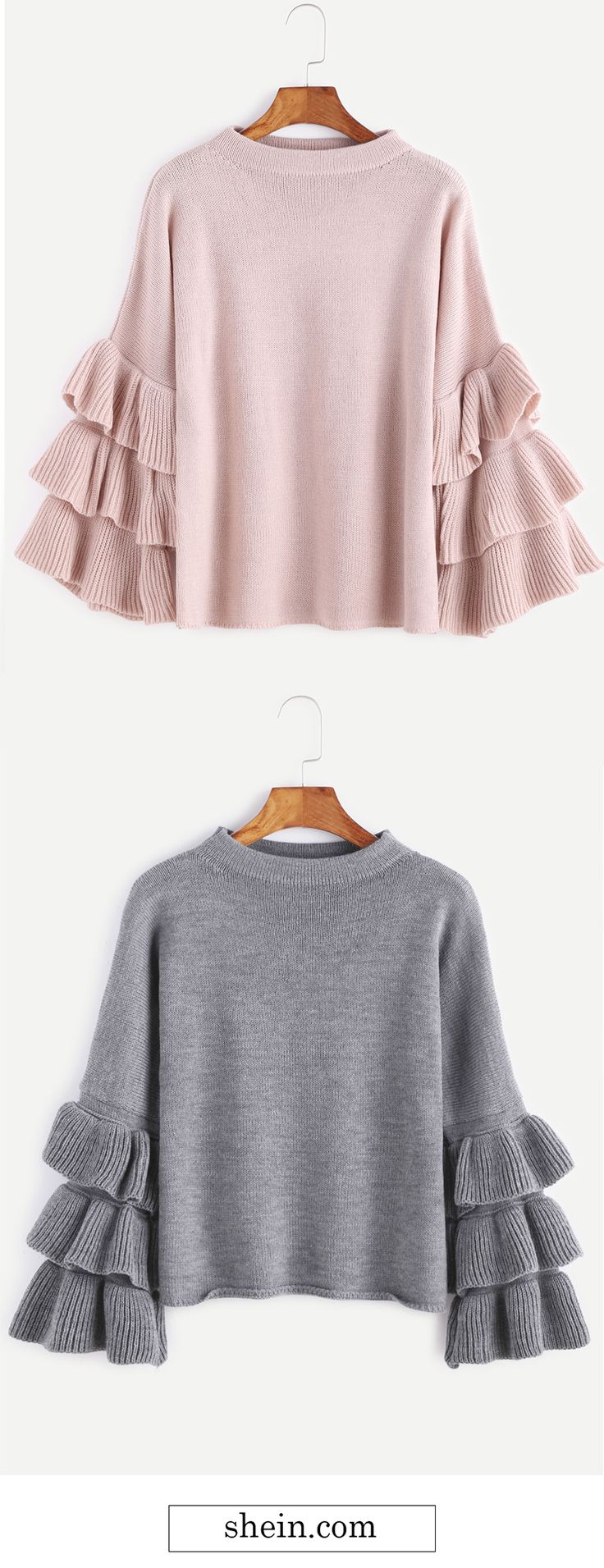 Cute layered ruffle sleeve sweater collect.