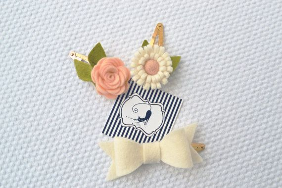 Hair clips flower and bow set / Handmade with 100% by CraftyCatgr