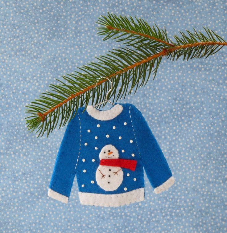 Snowman Ugly Christmas Sweater Felt Christmas Ornament