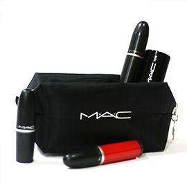 отзыв набор MAC - Must-have набор для макияжа в фирменной косметичке MAC кисть, помада, блеск, тушь
