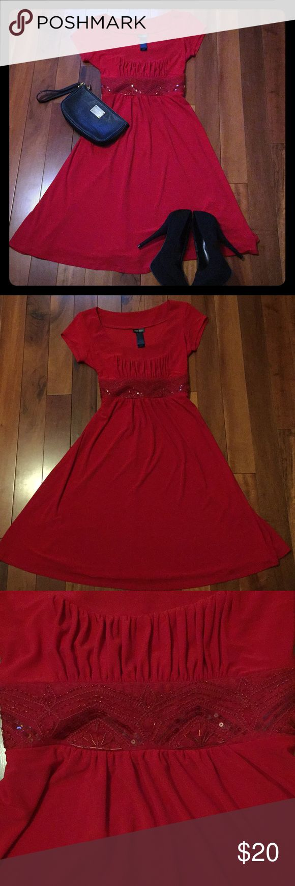 Bisou Bisou Red Dress Beautiful Red Dress by Bisou Bisou!  Just in time for the holidays, lovely dress for work or a party!  Red with beautiful beading at the waist. Size 6, excellent condition!  Make me an offer! Bisou Bisou Dresses