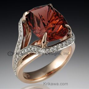 Laguna Cocktail Ring - This two-tone cocktail ring features a row of pave suspended around the stone setting. Depicted in the main style image is a Larry Woods Four Directions cut tourmaline. Priced for a single metal. Please inquire for two tone pricing www.krikawa.com