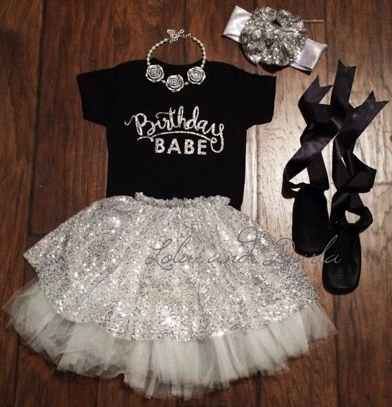 Birthday Babe silver sparkle birthday shirt by LolaandDarlaDesigns