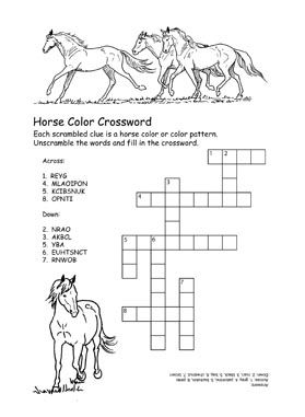 Horse Color Crossword