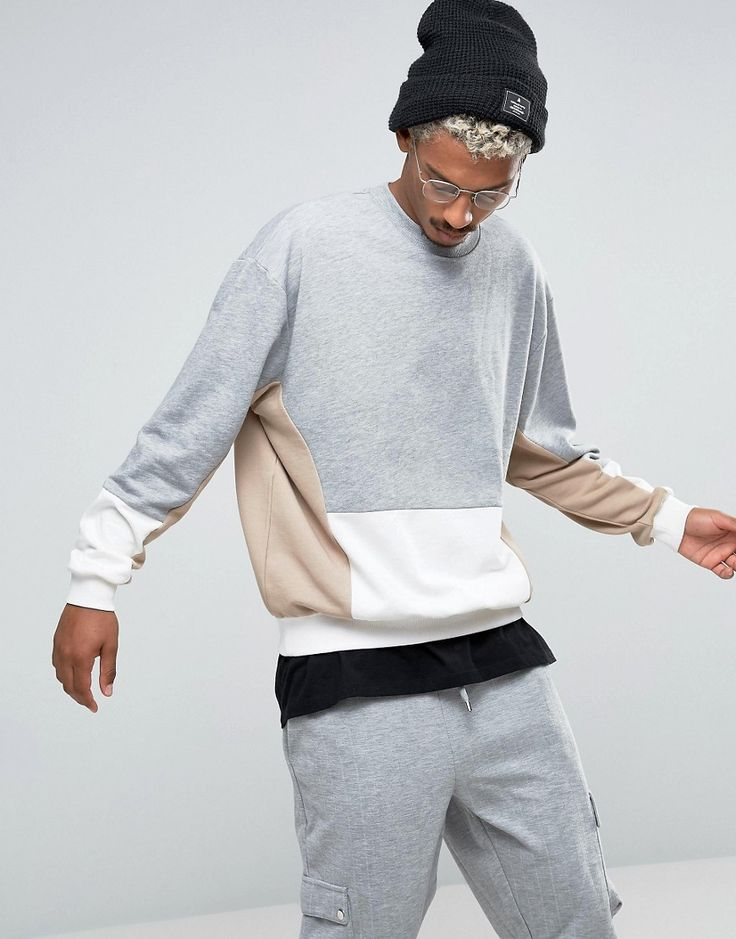Image 1 of ASOS Oversized Sweatshirt with Cut And Sew Panel