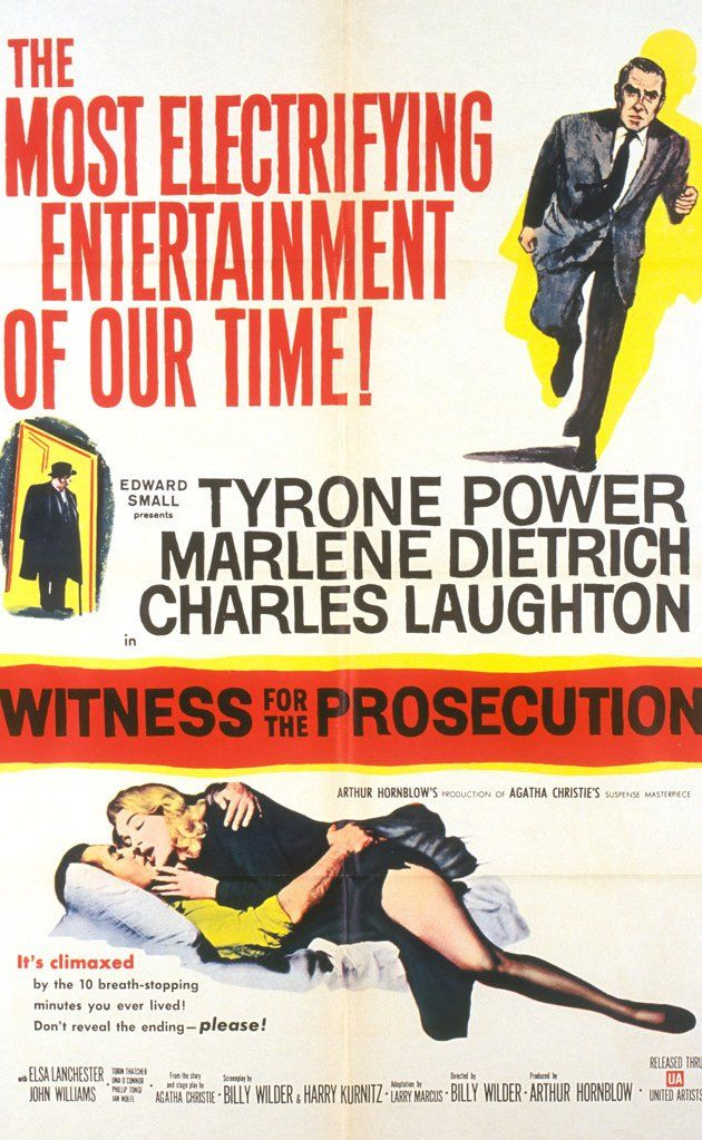 Witness for the Prosecution (1957) Directed by Billy Wilder. With Tyrone Power, Marlene Dietrich, Charles Laughton, Elsa Lanchester. Leonard Vole is arrested on suspicion of murdering an elderly acquaintance. He employs an experienced but aging barrister as his defense attorney.