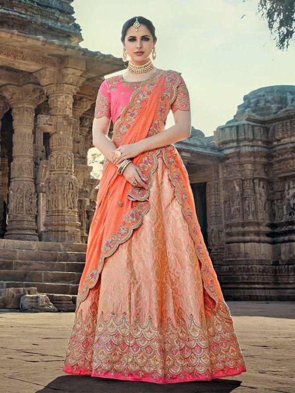 82e712246e Noble Silk Peach And Salmon Embroidered Work Lehenga Choli | Wedding  Lehenga Cholis in 2019 | Silk lehenga, Bridal lehenga choli, Lehenga