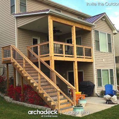 This client northwest of Des Moines had a deck that faced south and was in need of shade so they could enjoy their deck and the view of their Urbandale neighborhood. The project involved re-structuring the deck for the roof addition. We also re-worked the staircase with solid/closed risers and we replaced the railing to better integrate with the porch structure and using aluminum balusters to reduce maintenance effort on the railing. The upper windows constrained the pitch of the roof so…