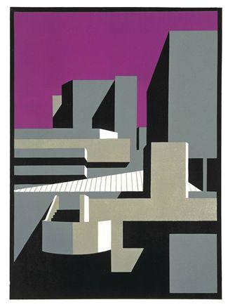 Paul Catherall - Southbank Lino Print