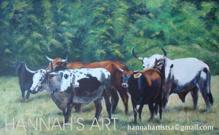 Artist: HANNAH, Andre's Nguni's, Oil on canvas, 1220 x 760, SOLD