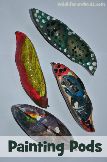 Nature for Kids: Seed Pod Painting. However - just do a couple as pods are food for wildlife they NEED food since their habitat is shrinking.