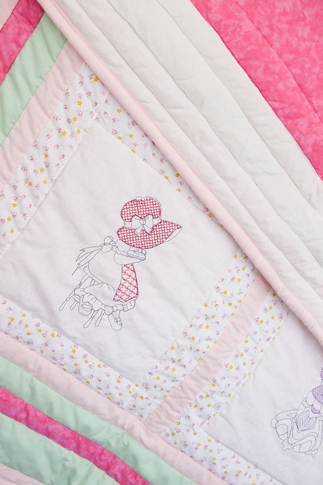 Reading Bonnet Girl Quilt. Handmade Embroidered Patchwork