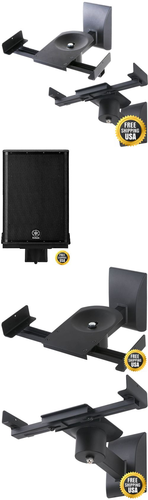Speaker Mounts and Stands: Halter Dual Pair Adjustable Wall Mounting Surround Sound Speaker Mounts Bracket BUY IT NOW ONLY: $34.14
