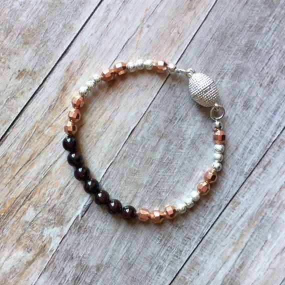 Natural garnet bracelet rose gold and silver by Ellieshandmadeart