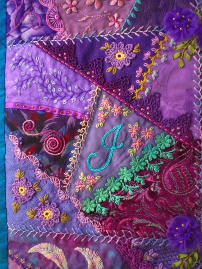 I ❤ crazy quilting & embroidery . . . beautiful, Block 3 - Crazy patchwork wall quilt. 26 x 32 inches ~By marcie carr