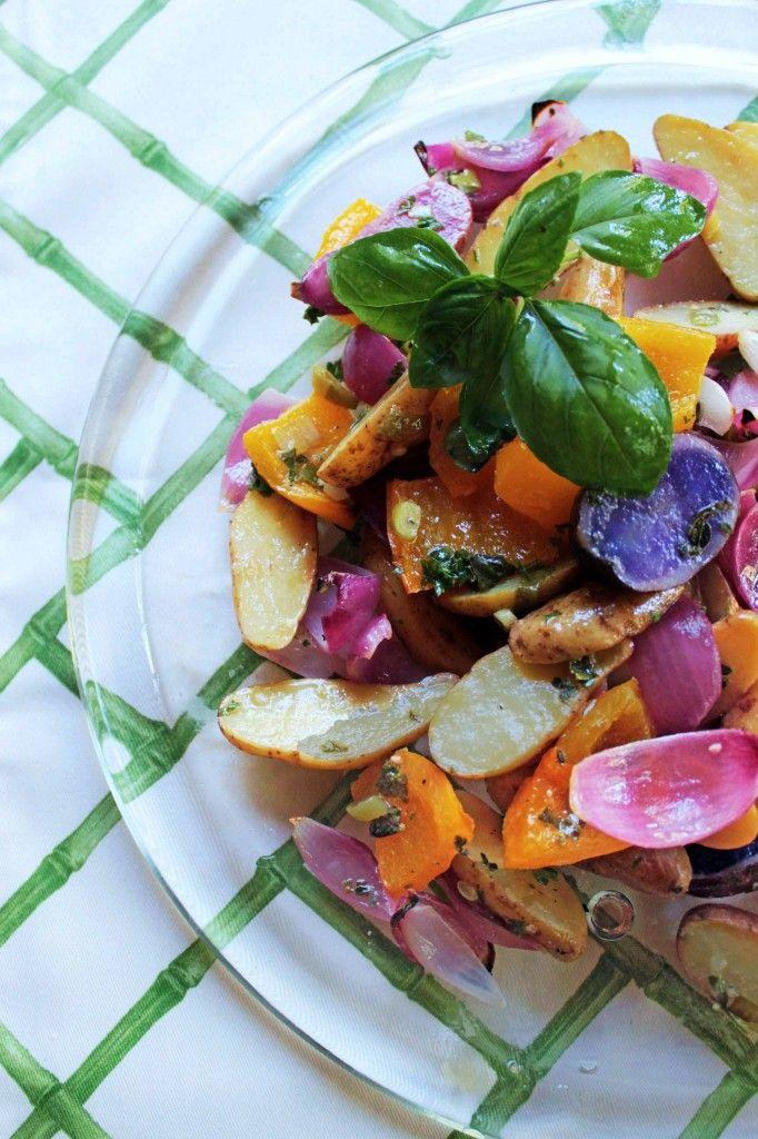Grilled fingerling potato salad with herb vinaigrette!
