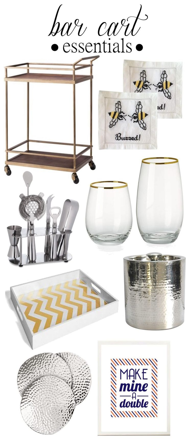 Great list of #bar cart essentials Bar cart, coasters, art, ice bucket, glasses, tools, and a pretty tray :)