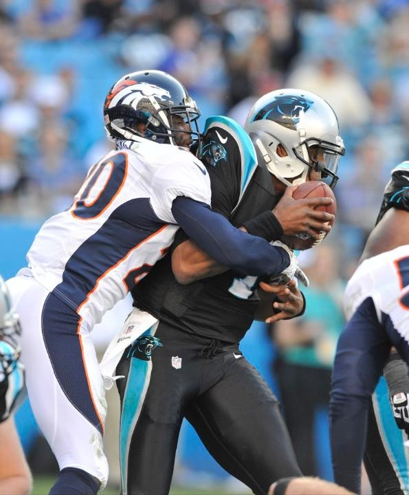 Mike Adams wraps up Newton and brings him to the ground for a sack and safety. Broncos vs. Panthers 11-11-2012