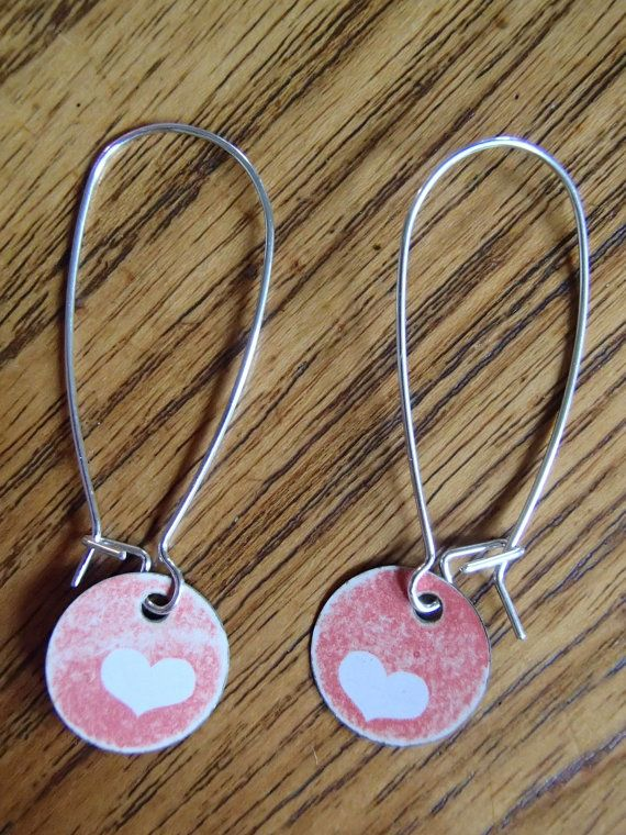 Re-purposed metal Red & White Hearts Earrings