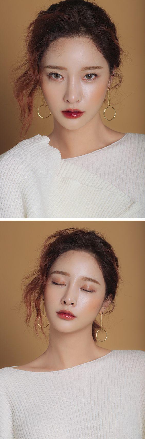 ลิปแมตต์ฉ่ำวาวแดงฉ่ำๆ กับสไตล์การแต่งหน้าแบบดิวอี้หน้าเงา ทาอายแชโดว์สีทองเล็กน้ยสวยเป๊ะแบบสาวเกาหลี