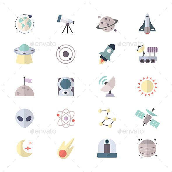 Planets In Space and Universe Galaxy Icons