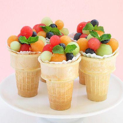 Fruit Salad Ice Cream Cone. Could add some fruit dip to make it yummier! Put whipped cream with some honey in the bottom of the cone. enjoy,,,,,,