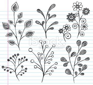 Hand-Drawn Sketchy Notebook Doodles Leaves Royalty Free Stock Vector Art Illustration