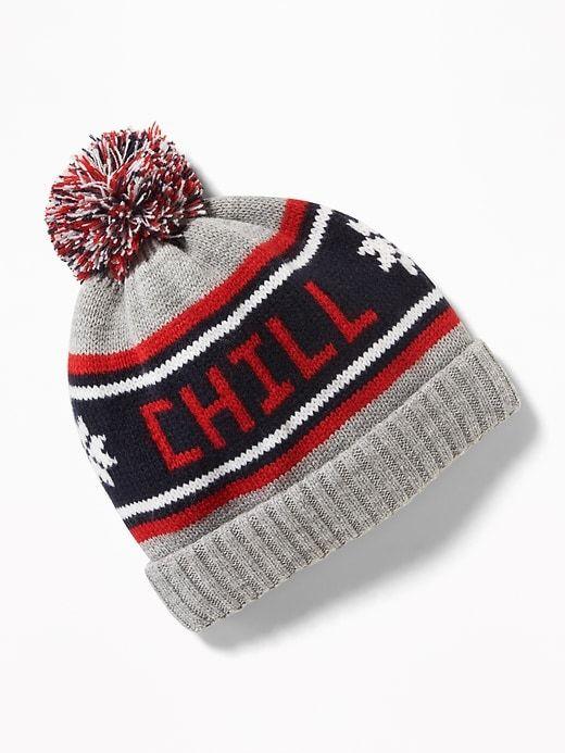 Patterned Sweater-Knit Pom-Pom Beanie for Boys  696b3d7dafae