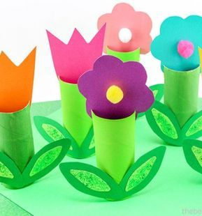 Toilet paper roll flowers - easy tp roll spring craft for kids // WC papír guriga virágok - egyszerű tavaszi ötlet gyerekeknek // Mindy - craft tutorial collection // #crafts #DIY #craftTutorial #tutorial #spring #SpringCrafts