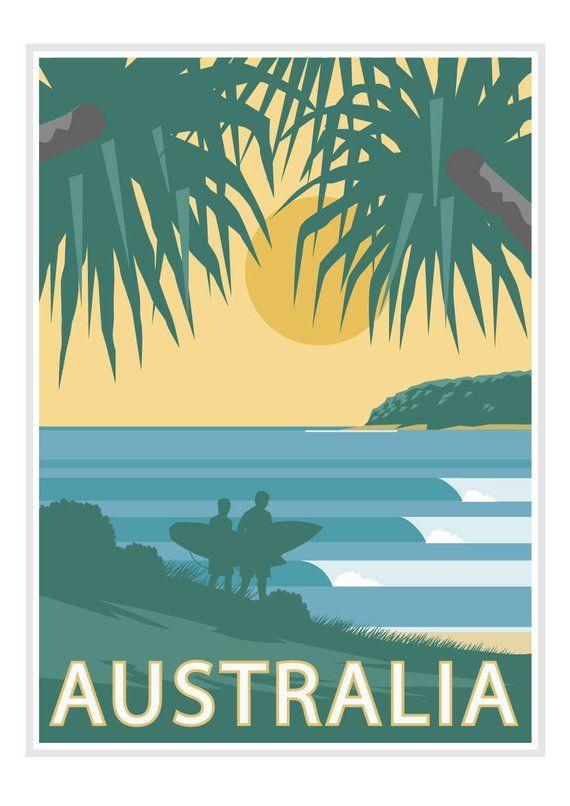 Australia Vintage Poster Vintage Travel Poster Art Deco Travel Poster Australia Travel Poster Art Deco Poster Vintage Surf Poster Surf Poster Travel Posters Art Deco Retro Travel Poster