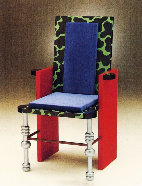 Nathalie Du Pasquier, Pilar Chair, for Pier-Luigi Ghiandi, 1985. Even when not working for Memphis, her designs show the influence of it.