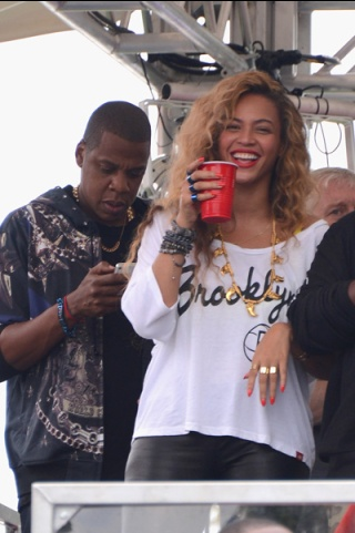 Jay-Z and Beyonce at the Made In America Festival.